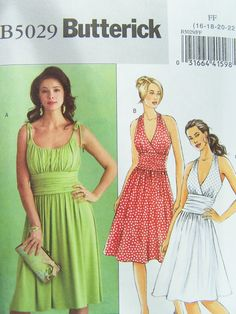 Butterick B5029 Sewing Pattern - Women's Gathered Bodice Dress, Bridesmaid Halter Dress with Flared Skirt, Easy Sewing Plus Size Pattern
