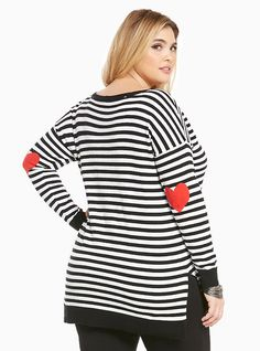 Plus Size Striped Heart Patch Elbow Sweater
