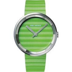 Issey Miyake Please Green Watch Polyurethane ($1,820) ❤ liked on Polyvore featuring jewelry, watches, green watch, green jewelry, green jewellery, issey miyake watches, green watches and issey miyake