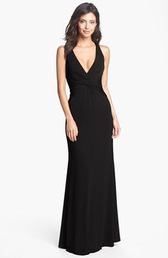 Laundry by Shelli Segal Knotted Jersey Surplice Gown available at #Nordstrom - the red is hot!  Too expensive for me at this time but plan to buy if available later.