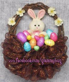 "(www.facebook.com/glammybug) Easter/Spring Bunny Basket w/ Eggs Deco Mesh Wreath ""Glammy Bug Design Boutique"""