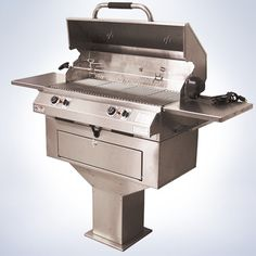 """Dual temperature controls on our 32"""" pedestal outdoor grill allow you to grill two different foods at two different temperatures at the same time. (Once grill masters discover how convenient two controls are they never go back to just one!)  It's the perfect size for a patio or poolside grilling area. Built like a tank, it can withstand years of constant use and harsh elements."""