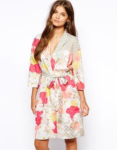 Image 1 ofASOS Pink Spot Floral Robe