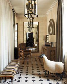 JEAN: Louis Deniot hall mirror, crisscross detail