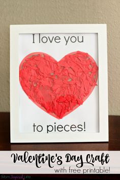 I love you to pieces Valentine's Day craft activity for toddlers, preschoolers and young kids. Includes a free printable!- said pinner Kinder Valentines, Valentine Theme, Valentine Crafts For Kids, Valentines Day Activities, Mothers Day Crafts, Valentines Day Party, Holiday Crafts, Valentine Ideas, James Valentine