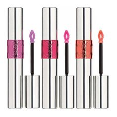 These popsicle-colored lip tints look like gloss on but feel as luxurious as your silkiest facial oil. YSL Volupté Tint-In-Oil in Pink About Me; My Cherie; and Peach Me Love, $32 each, sephora.com.