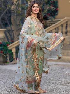 Image may contain: 1 person, standing and outdoor Pakistani Party Wear Dresses, Shadi Dresses, Designer Party Wear Dresses, Pakistani Wedding Outfits, Pakistani Dress Design, Indian Designer Outfits, Indian Dresses, Beautiful Pakistani Dresses, Pakistani Couture
