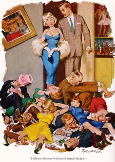 """I told you if we were late we'd miss all the fun."" Cartoon for Playboy by Charles W. I read it for the cartoons, you see… Playboy Cartoons, Adult Cartoons, Funny Cartoons, Cocktail Pictures, Love Scenes, Adult Fun, Playboy Bunny, Vintage Party, Googie"