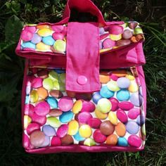 Sac à gouter, lunch bag, sac pour repas ou goûter en coton enduit bonbons