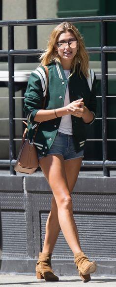 Hailey Baldwin's varsity jacket is inspiring our Fall wardrobe.