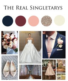Navy Burgundy Champagne and Blush Wedding Ensemble                                                                                                                                                                                 More