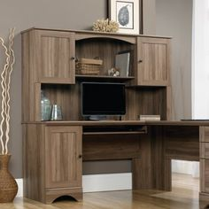 Sauder Harbor View Hutch, Salt Oak, Brown
