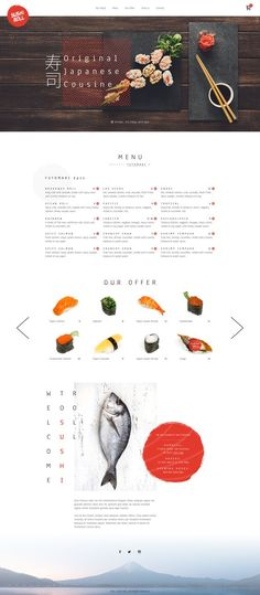 restaurant poster Sushi restaurant by Greg Dlubacz - Dribbble Ux Design, Food Web Design, Food Graphic Design, Layout Design, Japanese Restaurant Menu, Japanese Menu, Best Restaurant Websites, Restaurant Website Design, Restaurant Poster