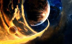 sci fi science fiction cg digital art paintings airbrushing comet asteroid planets fire flames stars space nebula apocalyptic apoc destruction devastation color bright wallpaper background