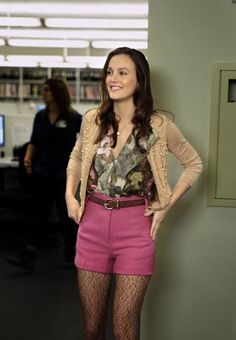 Leighton Meester wearing Wolford Honeycomb Tights and High Waisted Shorts Organic by John Patrick.