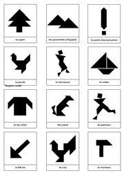 Silhouettes d'animaux, de personnages et d'objets pour jeu tangram à imprimer gratuitement