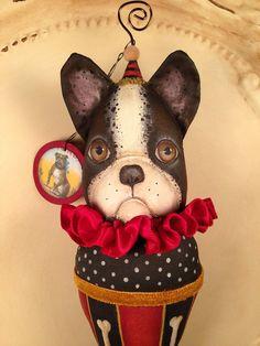 Folk Art One of a Kind French Bulldog Ornament by FolkArtByPenny