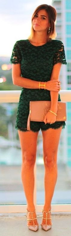 Pop look Green Lace Romper and Clutch