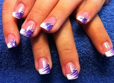 Purple and white tips with rinstones