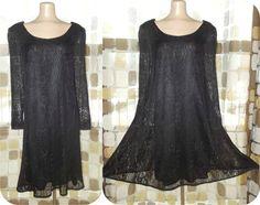 Vintage 90s Retro 60s Black MOD Crochet Babydoll Tent Dress 1X Plus Size 16