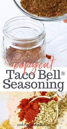 Copycat Taco Seasoning Mix (Healthy Taco Seasoning Recipe) is a great substitution for the packets that you buy in the store. A low carb, gluten-free, keto taco seasoning recipe. Tastes just like Taco Bell® Seasoning - only much healthier. Homemade Dry Mixes, Homemade Spice Blends, Homemade Spices, Homemade Tacos, Homemade Taco Seasoning, Seasoning Mixes, Mccormick Taco Seasoning Recipe Copycat, Italian Seasoning Recipes, Sugar Free Taco Seasoning Recipe