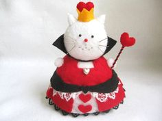 Alice in Wonderland The Queen of Hearts Inspired Cat Pincushion cute felt kitty cat collectable or gift for animal lover...MADE-TO-ORDER
