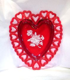 Ruby Red Glass Heart Plate 1960's Open by UnusualFindsnDesigns