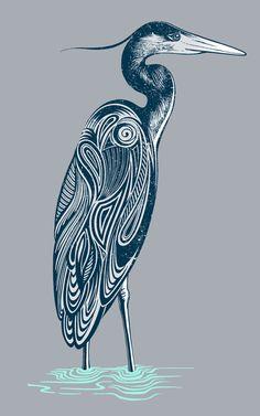 Bewitching blue heron Art Print by Rachel Caldwell