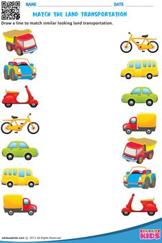 Kindergarten transportation worksheets that allow kids to match each vehicle to where we find them & match similar looking land transportation. These worksheets are free printable. Transportation Preschool Activities, Transportation Worksheet, Preschool Learning Activities, Transportation For Kids, Vocabulary Activities, Fun Worksheets For Kids, Printable Preschool Worksheets, Kindergarten Worksheets, Alphabet Worksheets