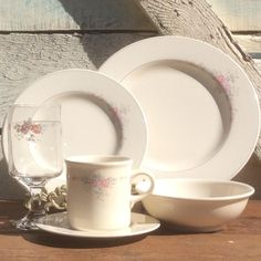 48pc Trousseau Pfaltzgraff Dinnerware | 8 Dinner Plates 8 Salad Plates 8 Saucers 8 Soup Bowls 8 Goblets 8 Mugs | Shipping Will Be Adjusted by ShowMeShabby on Etsy