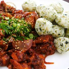 Korean Fire Chicken & Rice Balls Buldak & Jumeokbap The Effective Pictures We Offer You About Asian Recipes beef A quality picture can tell you many things. Rice Recipes, Asian Recipes, Chicken Recipes, Dinner Recipes, Cooking Recipes, Healthy Recipes, Shrimp Recipes, Fire Chicken, Chicken Rice