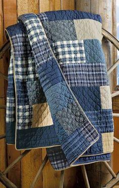 The Best Upcycled Denim Crafts & DIY Warum recyceln Sie Ihre alten Jeans nicht . - The Best Upcycled Denim Crafts & DIY Why not recycle your old jeans into somethi… The Best Upcyc - Flannel Quilts, Boy Quilts, Denim Quilts, Denim Patchwork, Denim Quilt Patterns, Shirt Quilts, Shirt Pillows, Plaid Quilt, Patchwork Blanket