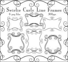 Instant Download Swirlie Curly Frames by CheriesArtsnCrafts, $2.50