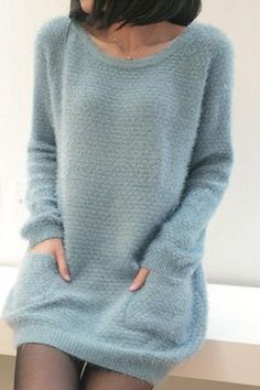 Korean Style Pure Color Pucket Warp Knit Dress Blue--Click the picture can place an order, we support wholesale sweaters dresses.
