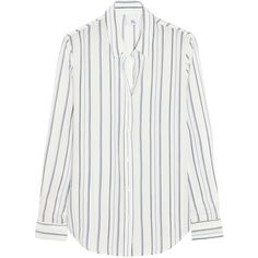 Iris and Ink Kate striped silk crepe de chine shirt ($140) ❤ liked on Polyvore featuring tops, blouses, shirts, pitkähihat, ivory, white stripes shirt, loose white shirt, ivory shirt, silk blouses and white striped shirt