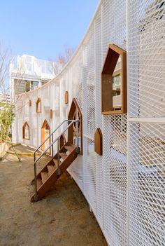 Koto Kameido Satellite Global Kids Tatekawaen-STGK Inc. Kids Outdoor Playground, Playground Design, Facade Architecture, Landscape Architecture, Landscape Design, Facade Design, Wall Design, Exterior Design, Cool Playgrounds