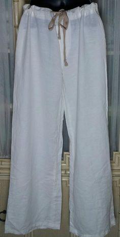 DKNY Jeans White Linen Cotton Wide Leg Pants Size 10 #DKNY #WideLeg SOLD