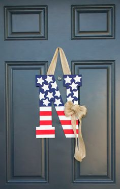 Patriotic Letter Decor by TheTypewriter on Etsy Usmc American american flag army navy airforce monogram decorative