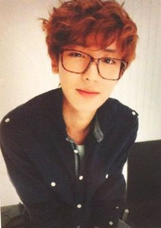 I loved chanyeol's hair like this! The guy knows how to work the hipster glasses :]