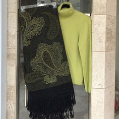 Wrap with lime turtleneck sweater Sweater Sweaters Shrugs & Ponchos
