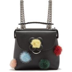 Fendi Fur pompom-embellished mini leather backpack (17.000 NOK) ❤ liked on Polyvore featuring bags, backpacks, backpack, black multi, fendi bags, genuine leather backpack, mini bag, shoulder strap backpack and fendi backpack