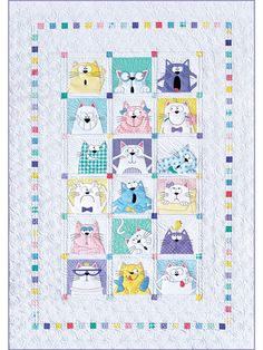Amy Bradley Designs Cats quilt pattern, eighteen Cat blocks are included. Instructions to make a twin size, wallhanging, pillows, and tote bag with phrase. The technique is fusible appliqué. Tree Quilt Pattern, Cat Quilt Patterns, Applique Patterns, Applique Quilts, Cat Applique, Loom Patterns, Dog Quilts, Animal Quilts, Amish Quilts