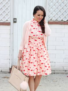 Flamingo Print Flare Dress 5
