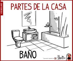Baño, partes de la casa - vocabulario español intermedio
