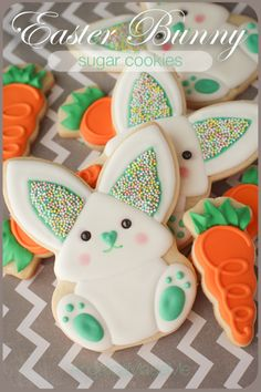 Easter Bunny & Carrot Sugar Cookies. Hand decorated following the super awesome cookie tutorial by Make Me Cake Me.
