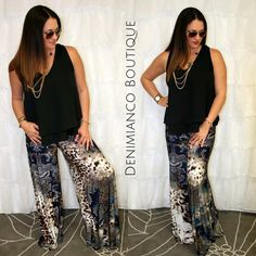 palazzo outfit idea ♥ contact 239-313-7298 to order. www.facebook.com/denimianco for more ideas #style #outfitidea