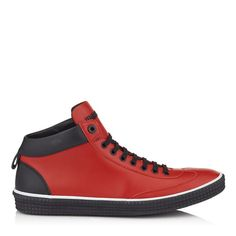 4c935245427 JIMMY CHOO Varley Russian Red Sport Calf Leather High Top Trainers.   jimmychoo  shoes  s