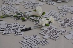 """Cute """"guest book"""" idea - a giant blank puzzle - have people write messages and then put it all together, frame, and hang on the wall."""