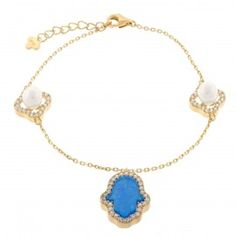 18K Gold ptd Sterling Silver Anchor Chain with Hamsa Created Opal & Clover Pearl Charm Bracelet
