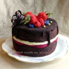 Needle felted mixed berries chocolate cake
